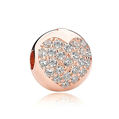 Romántico Amor 925 Sterling Silver Love Of life Clip Clear CZ Charm Rose Gold Bead Fit Pandora (Romantica Roses)