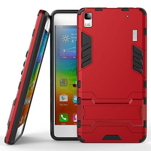 Case for Lenovo A7000 / Lenovo K3 Note (5.5 inch) 2 in 1 Shockproof with Kickstand Feature Hybrid Dual Layer Armor Defender Protective Cover (Red)