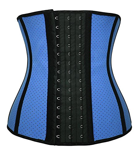 YIANNA Women's Underbust 3 Hooks Sport Breathable Latex Girdle Waist Training Corset Waist Shaper Tummy Control, YA11533-Blue-XL (Latex Rubber Pants)