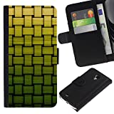 GIFT CHOICE / SmartPhone Cell Phone Leather Wallet Case Protective Cover for Samsung Galaxy S4 Mini i9190 // Basket Pattern Green Bamboo //