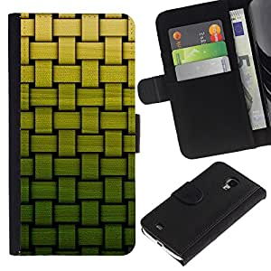 KingStore / Leather Etui en cuir / Samsung Galaxy S4 Mini i9190 / Cesta Modelo verde de bambú