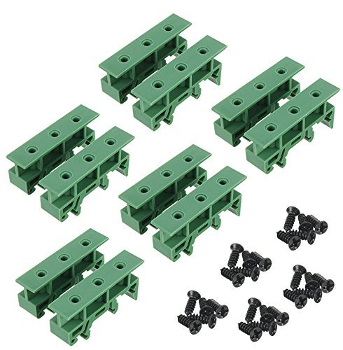 Sysly 5 Sets PCB DIN Rail Mounting Adapter Circuit Board Mounting Bracket Holder Carrier Clips, for 35mm, 15mm DIN Rail (Green) ()