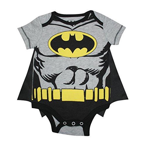 [2 PCS SET Baby Boys BATMAN One-Piece Romper with Removable Cape 0/3M Multicolor] (Batman Outfit Baby)