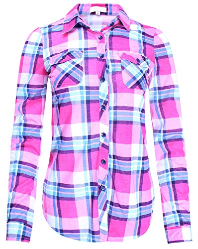- Checkered Plaid Button Down Shirt Top with Roll Up Sleeves Pink S Size