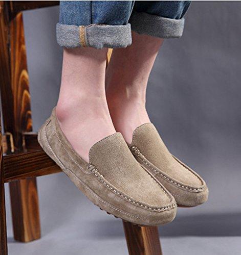 Piatto Uomo On Slip Mocassini Loafer di Pelle Cachi Scarpe da Barca Faux Jitong IBH0nH