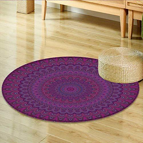 Small Round Rug Carpet Dark Purple Mandala Fractal Ornament Round Symmetrical Graphic designfrom Concentric Ellipses Door mat Indoors Bathroom Mats Non Slip -