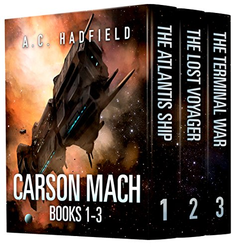 Space opera at its best with this 3-in-1 BOXED SET ALERT!  Carson Mach Adventures by A.C. Hadfield