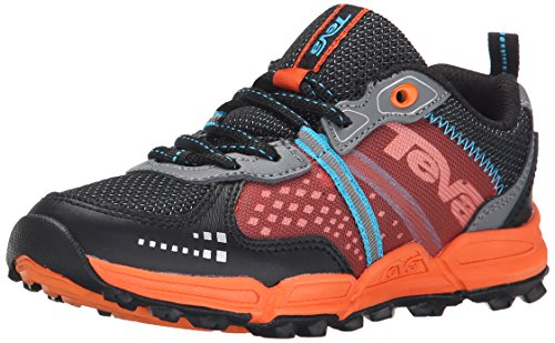 Teva Escapade Low Athletic Trail Shoe (Little Kid/Big Kid), Black/Orange/Blue, 10.5 M US Little Kid