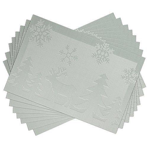 SiCoHome Placemats Christmas Reindeer Silver