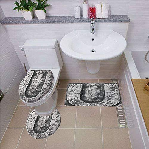 Bath mat Set Round-Shaped Toilet Mat Area Rug Toilet Lid Covers 3PCS,Letter U,Uppercase U Character in Grey Tones Retro Sign Coin Style Industrial Background,Black Grey,Pattern
