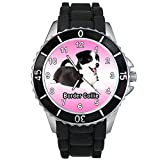BMSC1350 Border Collie Puppy Dog Mens Ladies Black Jelly Silicone Strap Wrist Watch