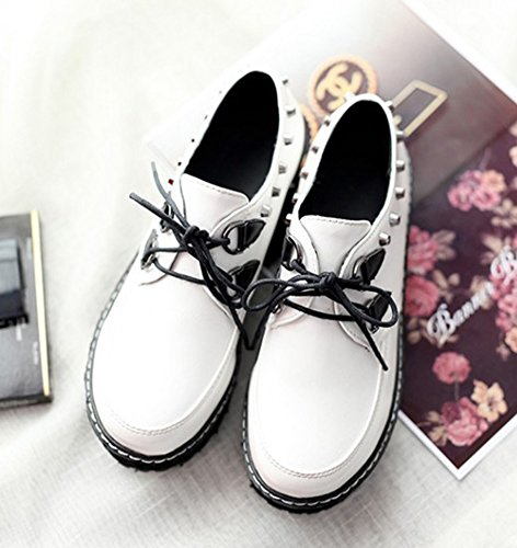 Sfnld Womens Fashion Round Toe Thick Sole Studs Lace Up Loafers Shoes Sneakers White Z8gZvnorOy