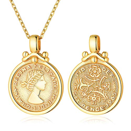 Coin Necklace 18K Gold Plated Sterling Silver Coin Round Medallion Pendant Necklace Vinatge Jewelry for Women ()