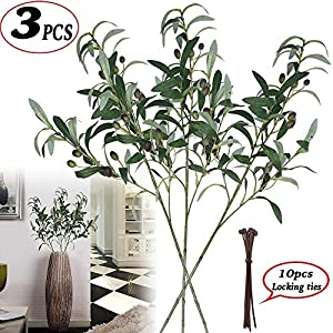 MARJON FlowersArtificial Olive Branches Plants Stems Fake Plants Green Leaves Fruits Branch Leaves for Home Office ndoor Outside DIY-Wreath Decor (3pcs) 85