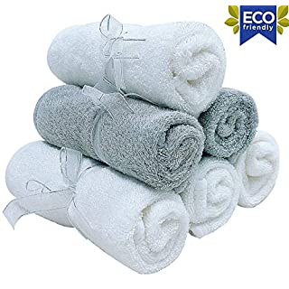Organic Baby Washcloths - Premium Bamboo Wash Cloth Set of 6 - Ultra Soft Kids Infant WashCloths for Face and Body - Neutral Newborn Washcloth Pack - Top Baby Registry and Shower Gifts - White Grey