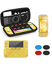 iAmer Kit accessori per Nintendo Switch Lite, Custodia per Nintendo Switch Lite, Cover in Cristallo Trasparente,9H Vetro Temperato Protezioni Pellicola per Switch Lite(2-Pezzi), 4 Thumb Grips