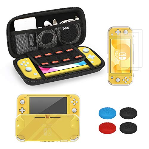 iAmer Accessories Kits for Nintendo Switch Lite 5 in 1, include Protective Carrying Case,TPU Protective Back Cover and 2pcs Tempered Screen Protector Film,Thumb Grips Caps