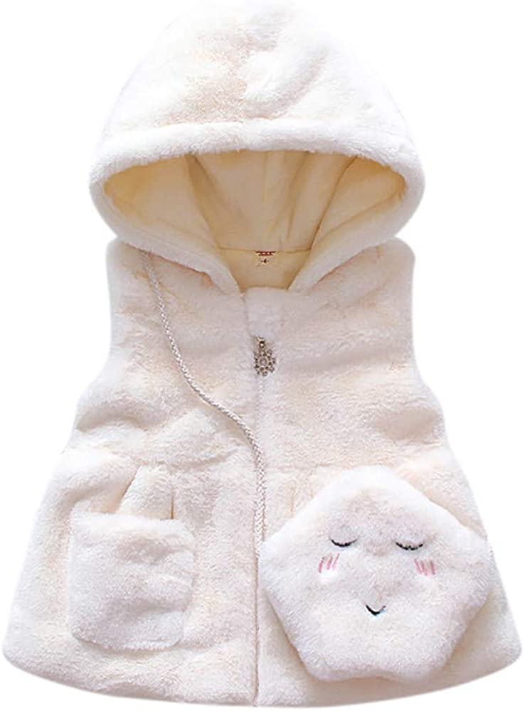 Sothread Kids Toddler Baby Girl Winter Waistcoat Sleeveless Solid Zipper Hooded Warm Coat Tops with Bag