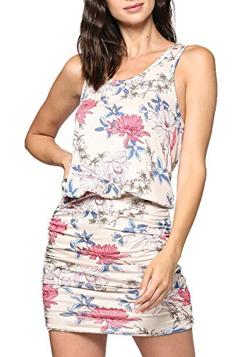 LaClef Women's Mini Ruched Tank Shift Dress (Cream Flower, M)