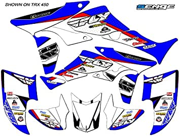 13 Fly Racing Black Graphics Kit with blank number plates Senge Graphics Kit Compatible with Honda 2005 TRX 450R