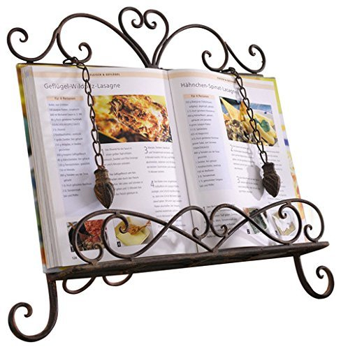 Antique Metal ♥Cookbook Stand Recipe Book Stand for Kitchen Easel Weighted Chain ()