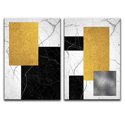 wall26 - 2 Panel Canvas Wall Art - Abstract Geometric Composition - Giclee Print Gallery Wrap Modern Home Decor Ready to Hang - 16