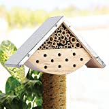 EXQUIS HOME Garden Bee House Outdoor Garden Decor for Solitary Bees, Insect Hotel for Bee Lovers, Perfect Gift Idea for Bee Keepers