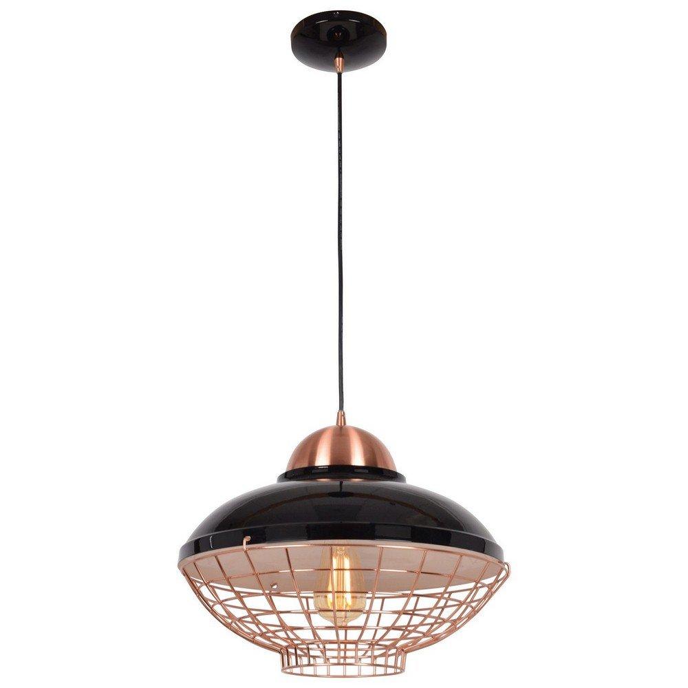 Access Lighting 24882LEDDLP-SBL/CP Dive Hanging Pendant, Shiny Black and Copper