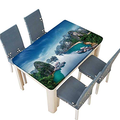 PINAFORE Waterproof SpillProof Tablecloth Tourist junks Floating Among Limestone Rocks at ha Long Bay South for Picnic,Outdoor or Indoor Party use W53 x L92.5 INCH (Elastic Edge) -