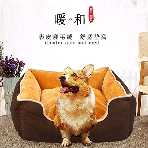 Washable brown M (575422cm within 20 Pet Bed Kennel Dogbed Cave Cashmere Mat Sleeping Cushion Cooling Washable Soft Available Warm Litter House Outdoor Hut Pads Cotton Large Thatched Shelter Crate Anti-Mold Supplies Medium Indoor Suprem