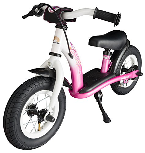 BIKESTAR® Original Safety Lightweight Kids First Balance Running Bike with brakes and with air tires for age 2 year old boys and girls   10 Inch Classic Edition   Flamingo Pink