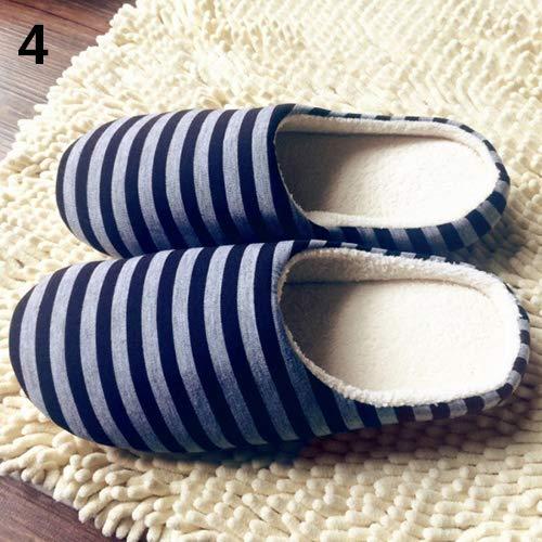 Blue Indoor Caldo ' 's S Morbido Scarpe Antiscivolo 44 Women Cotone Righe Achidistviq Dark Pantofole Men Invernale Blue A wxHqPn81a