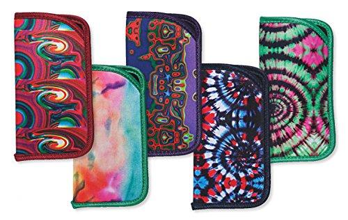 5 Pack Soft Slip In Eyeglass Case For Women & Men, Colorful Psychedelic - Case Funky Glasses