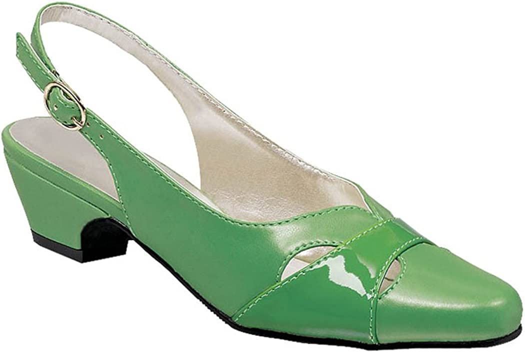 Retro Vintage Style Wide Shoes AngelSteps Womens Juniper Pumps Dress Shoes Adjustable Buckle Back Low Heel $39.98 AT vintagedancer.com