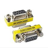 BeElion 2Pack DB9 Serial RS232 Female to Female Slimline Data Transfer Coupler Adapter,Gender Changer