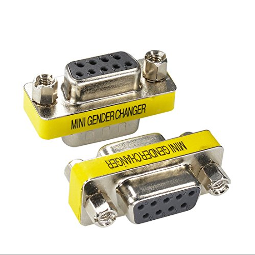 BeElion 2Pack DB9 Serial RS232 Female to Female Slimline Data Transfer Coupler Adapter,Gender Changer