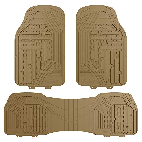 FH Group F11322 Supreme Rubber Trimmable Heavy Duty Floor Mats, Solid Beige ()