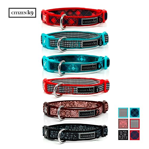 Red Plaid Dog Collar - Buju Citizen K9 Dog Collar – Adjustable Large Medium Small XS Stays for Dogs & Cats – Buffalo Red Plaid Medium – Soft & Comfy - Neoprene Training Collars with Matching Leash Available