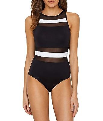 c34d40c21feab Anne Cole Women's Mesh High Neck One Piece Swimsuit, Color Block  Black/White,