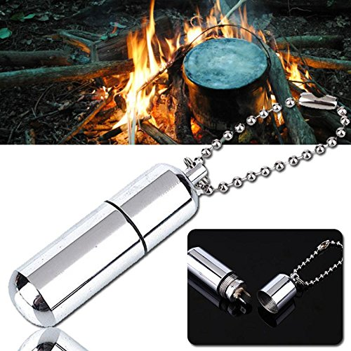 Emergency Fire Maker 3 Function Using Lighter, keychain and Secret Slot Survival Necessary Checklist Waterproof Small Heat Source Useful Reusable Personal Keychain Style Bushcraft W/O-ring seals SVL-7