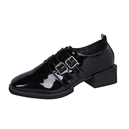 e837c095341 Amazon.com: SUKEQ Women Ankle Boots, Fashion Patent Leather Slip On ...