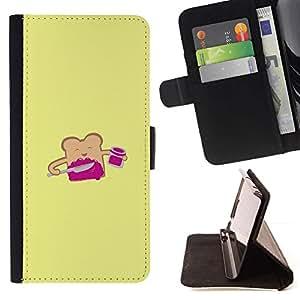 Momo Phone Case / Flip Funda de Cuero Case Cover - Pan tostado amarillo de la historieta feliz - Sony Xperia Z5 Compact Z5 Mini (Not for Normal Z5)