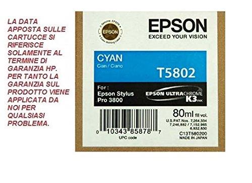 CARTUCCIA EPSON T5802 CIANO ORIGINALE SCADUTA 80ML FUNZIONALITA' GARANTITA EPSON/INKPIU