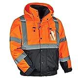 Ergodyne GloWear 8381 High Visibility Reflective Bomber Jacket with Zip-Out Black Fleece, Large, Orange