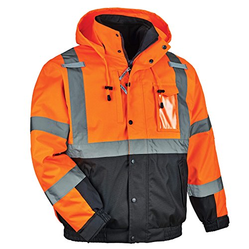 High Visibility Reflective Winter Bomber Jacket, Black Bottom, Zip Out Fleece Liner, ANSI Compliant, Ergodyne GloWear 8381