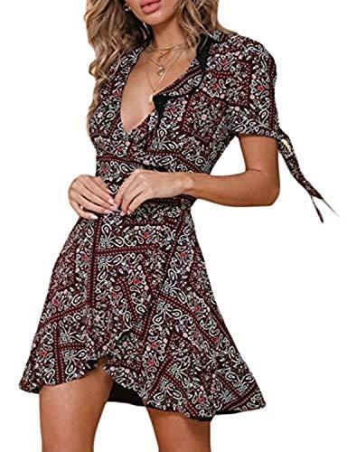 Shmily Girl Women's Dresses Summer Wrap V Neck Bohemian Floral Print Ruffle Swing A Line Beach Mini Dress (S, Multicolor)