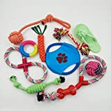 Cheap Ropes of many dog toys with ball and sandal toy and one to play fetch with dogs.