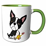 pics of ch - 3dRose 260973_7 Funny Cute Boston Terrier Puppy Dog with Rubber Ch Ceramic Mug, Green/White