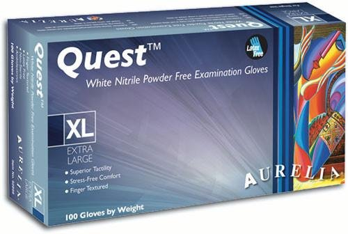 Aurelia Quest - White Nitrile Exam Gloves - Case - Size: Medium