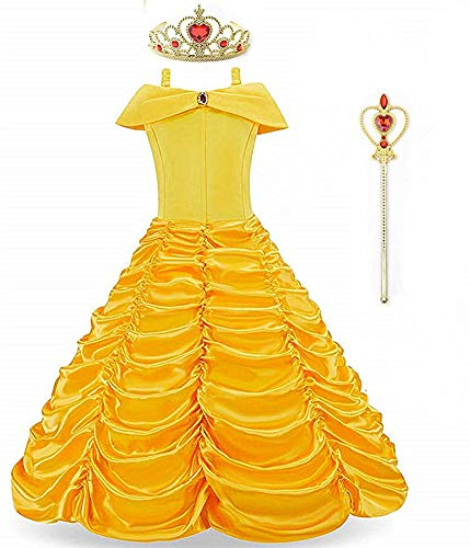 Long Dress Halloween Costumes (Princess Belle Beauty Halloween Costume Layered Cosplay Long Dress Outfit)
